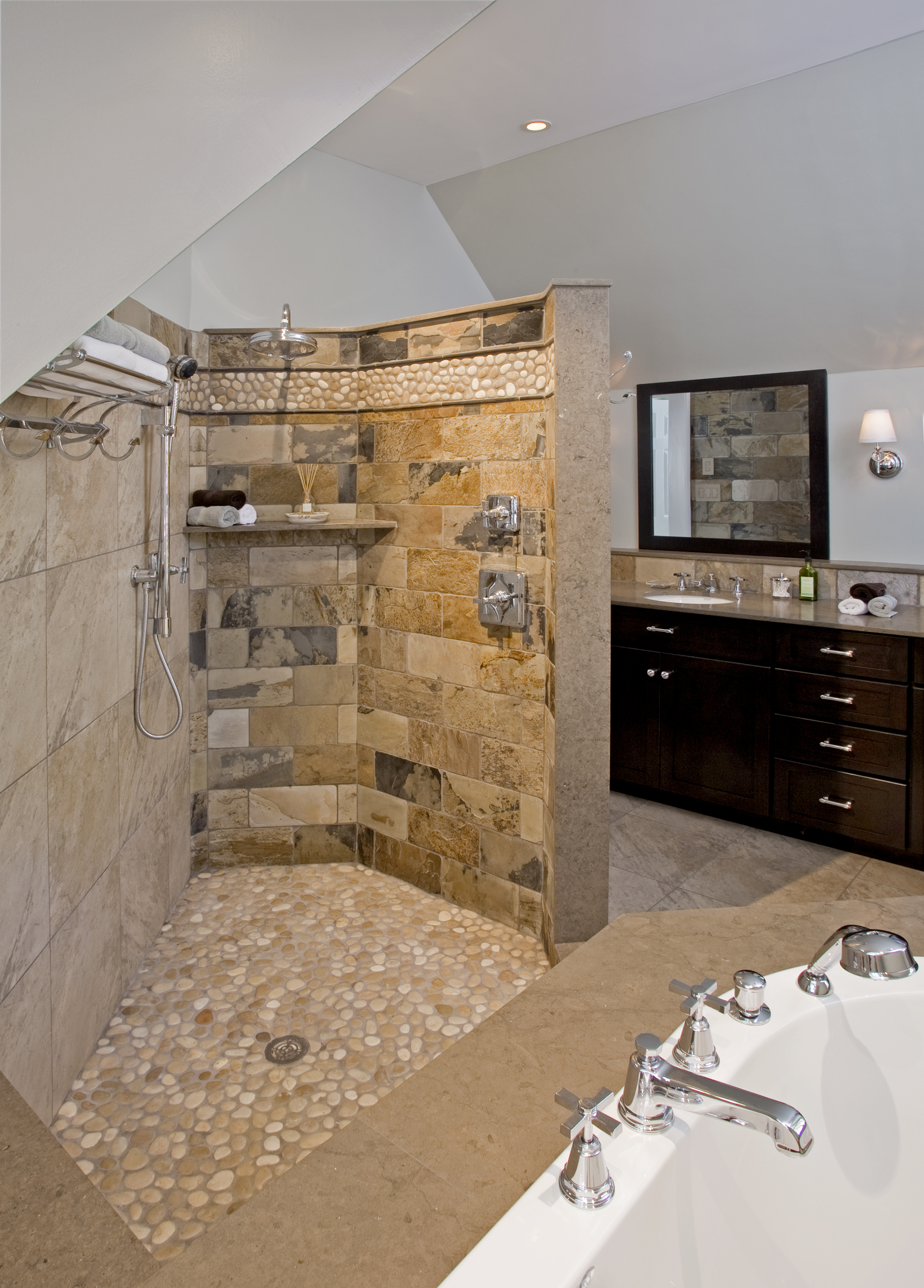 Transitional bathrooms designs remodeling htrenovations for Master bath designs without tub