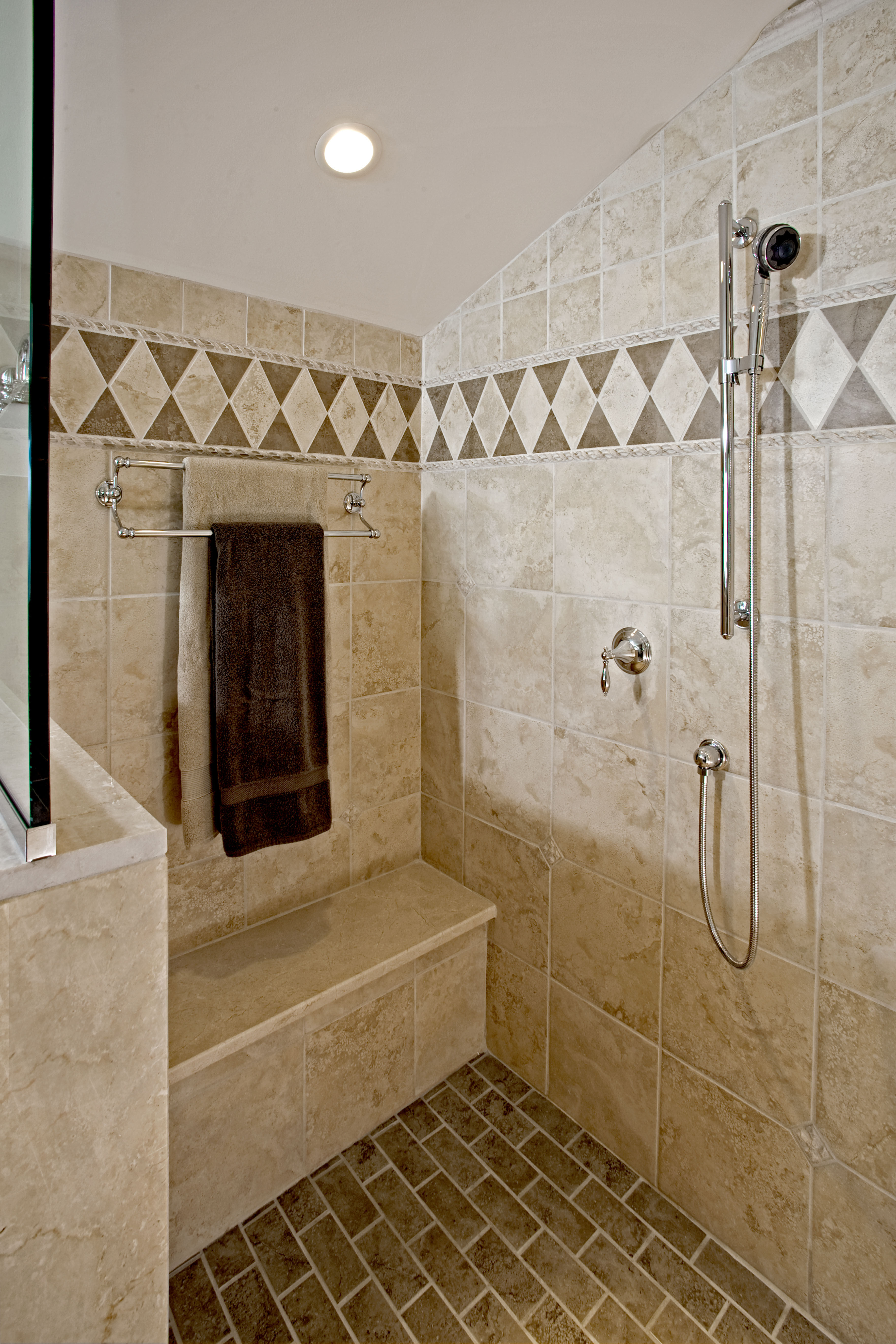 traditional shower designs guest bathroom the shower in this traditional design hatboro pa is fit for two with secondary handheld next to the bench and towel rack traditional bathrooms designs remodeling htrenovations